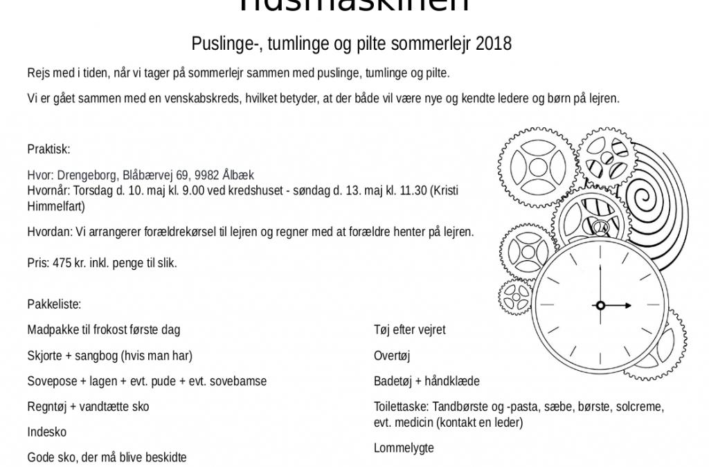 Sommerlejr 2018 for Puslinge/Tumlinge og Pilte